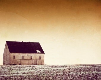 "Landscape Photography - brown print rustic wall art barn print beige neutral cream old house - 8x12, 12x18 Photograph, ""From a ByGone Era"""
