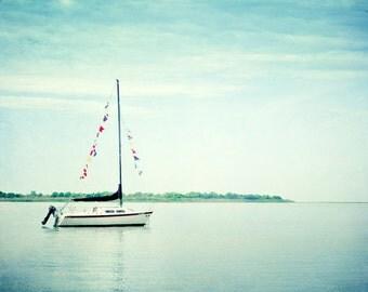 "Sailboat Photography - light blue white beach photography nautical pale aqua sail boat seashore print, 11x14, 8x10 Photograph, ""Next Voyage"""