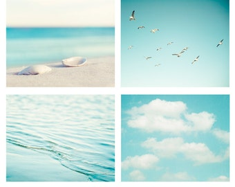 Beach Photography Set - aqua blue print ocean seashore coastal wall art seashells clouds water sea photo - Four 11x14, 8x10, 5x5 Photograph