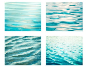 Water Photography Set - ocean prints sea beach ripples aqua blue teal turquoise bathroom wall art print seashore washroom photograph