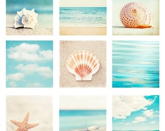 Beach & Ocean Photo Set - Nine Photographs aqua blue teal beige 9 seashell photography turquoise seashore sea shore coastal wall art prints