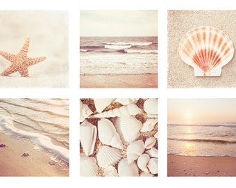 Beach Photo Set - Six 10x10, 8x8, 5x5 Photographs - beige neutral cream white seashells photography ocean sea shells coastal wall art print