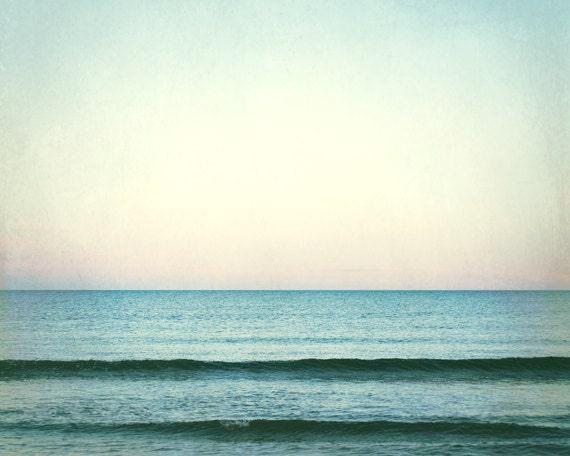 Ocean Photography, Mint Beach Decor, Teal Ocean Landscape, Beach Photography, Turquoise Wall Art, Sea Photography, Ocean Horizon Picture