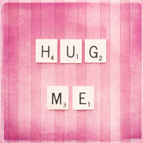 "Love Photography, pink valentines day decor photography scrabble tile wall art prints nursery decor lover valentine photograph, ""Hug Me"""