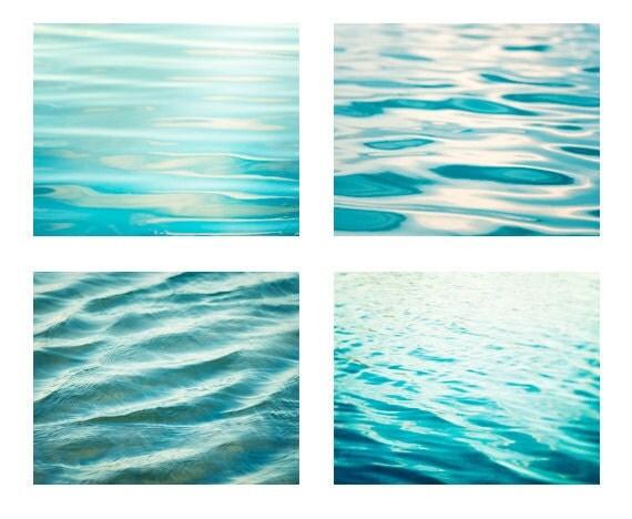 Water Photography Set - ocean prints sea beach ripples aqua blue teal turquoise bathroom wall art print seashore washroom photograph