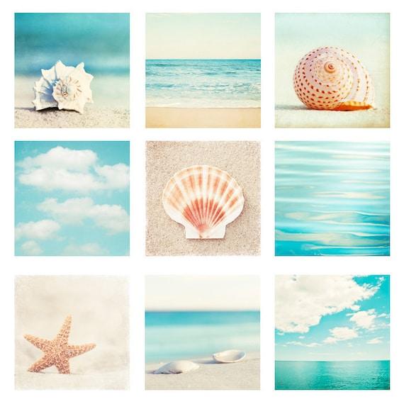 Beach & Ocean Photo Set - Nine Photographs aqua blue teal beige 9 seashell photography turquoise seashore sea shore coastal wall art prints