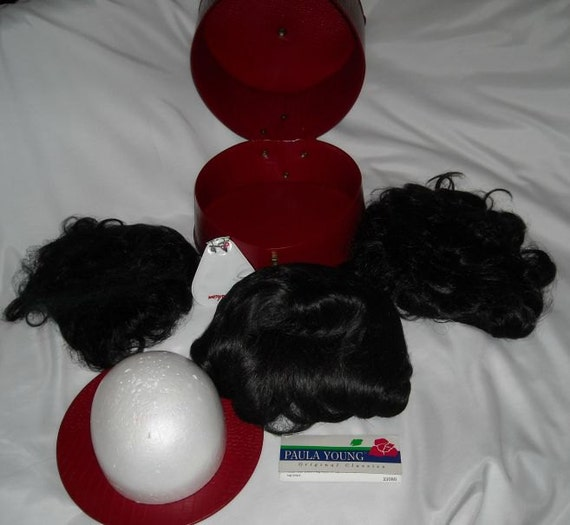 Vintage Doll Hat or Wig Case, Three Doll Wigs, Wig Head and Wig Pins.