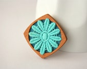 Turquoise Lace Flower on Sea Green Brooch, Lace and Mahogany Series