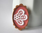 White Lace on Dusty Rose Brooch, Lace and Mahogany Series