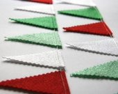 Christmas Garland: Red Green and White Felt Bunting