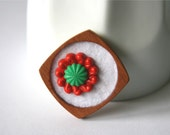 Vintage Buttons in Red, Green and White Brooch, Lace and Mahogany Series