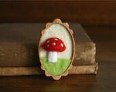 Red Woodland Mushroom on Green Grass Wooden Mahogany and Felt Brooch
