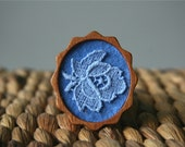 Blue Lace Vintage Flower on Blue Felt Wooden Brooch, Lace and Mahogany Series