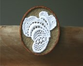 White Vintage Lace on Coffee Brown Felt Wooden Brooch, Lace and Mahogany Series