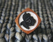 Black Vintage Lace Flower on Pale Peach Felt Wooden Brooch, Lace and Mahogany Series