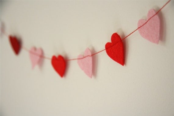Pink and Red Heart Felt Garland