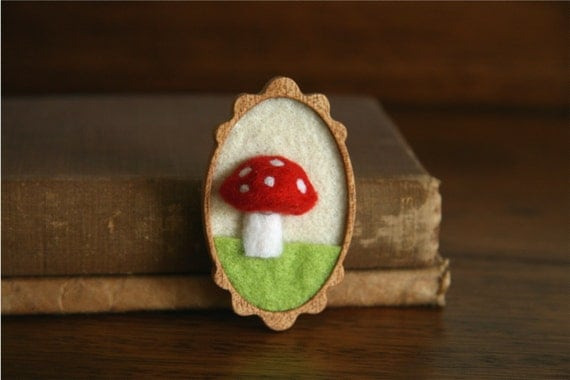 Red Woodland Mushroom on Green Grass Wooden Mahogany and Felt Brooch