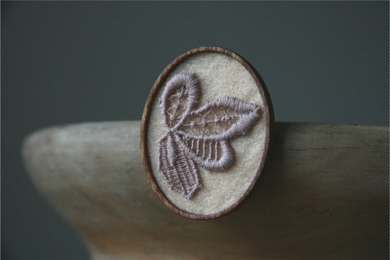 Dusky Pink Vintage Lace on Soft Peach Felt Wooden Brooch, Lace and Mahogany Series