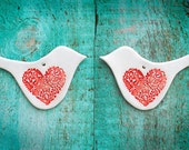 Matching Pair of Love Bird Ceramic Ornaments Decorations