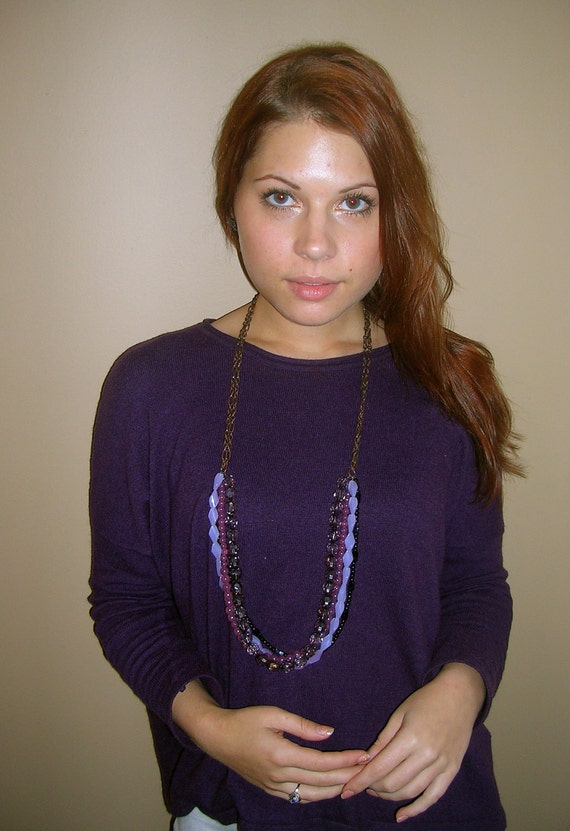 HOLIDAY SPECIAL Mixed Purple and Black Multi-strand Necklace