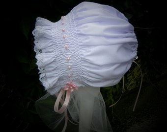 New Born White with Pink Pearls Bonnet