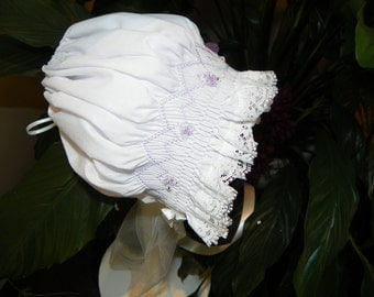 SALE - 12 Months - Lilac and Crystal Bonnet