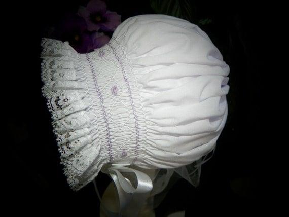 SALE - 12 Months - Bonnet with Lilac rosebuds