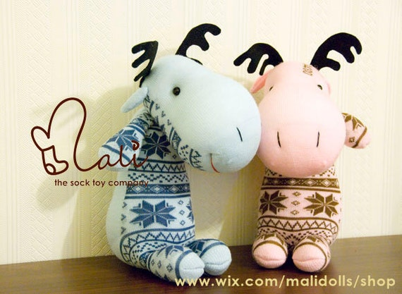 "Mali Sock Doll, Sock Moose, Blue Pink Newborn Safe Soft Toy, ""Snowflake Moose Brother & Siser"""