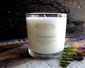 Organic Candle FRANGIPANI Coconut Wax massage Candle Essential Oils All Natural skin care 10 oz.