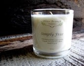 Organic Candle SIMPLY FREE fragrance free Coconut Wax candle  All Natural 10 oz.