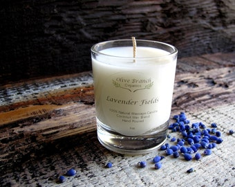 VOTIVE Candle Coconut Wax Massage Candle with Essential oils All natural Organic LAVENDER FIELDS