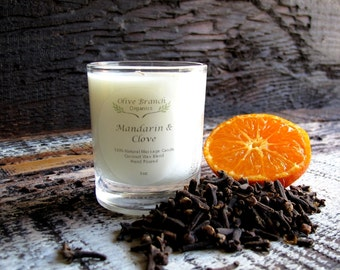 VOTIVE Candle Coconut Wax Massage Candle with Essential oils All natural Organic MANDARIN and CLOVE
