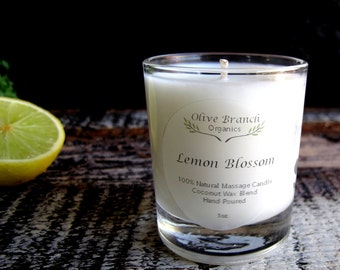 VOTIVE Candle Coconut Wax Massage Candle with Essential oils All natural Organic LEMON BLOSSOM