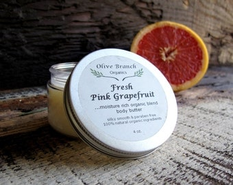 Body Butter all Natural Organic skin care with Essential Oils FRESH PINK GRAPEFRUIT