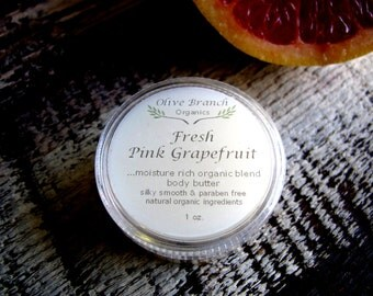 Organic/Natural Body Butter travel size FRESH PINK GRAPEFRUIT  with Essential Oils 1 oz.