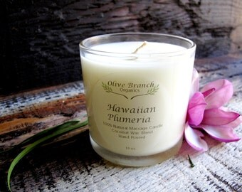 Organic/Natural  HAWAIIAN PLUMERIA  Coconut Wax Candle Essential Oils All Natural 10 oz.