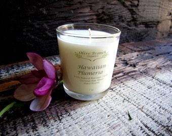 HAWAIIAN PLUMERIA  Candle organic Coconut Wax Essential Oils Eco-friendly All Natural 7 oz.