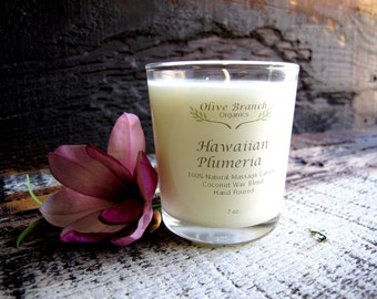 Organic Candle HAWAIIAN PLUMERIA Coconut Wax massage candle Essential Oils All Natural 7 oz.