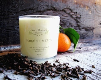 Organic Candle MANDARIN & CLOVE Vegan Coconut Wax Candle Essential Oils All Natural 10 oz.