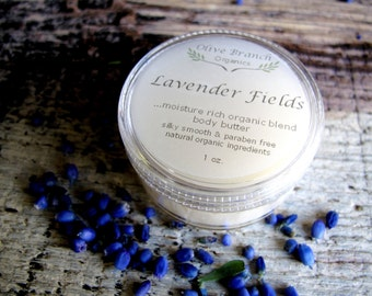 Body Butter travel size Organic skin care All Natural Essential Oils LAVENDER FIELDS
