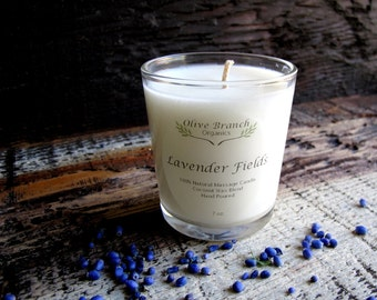 Organic Candle LAVENDER FIELDS All natural Essential Oils 7 oz.