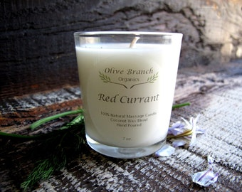 Organic Candle RED CURRANT Coconut Wax  Essential Oils Vegan All Natural 7 oz.