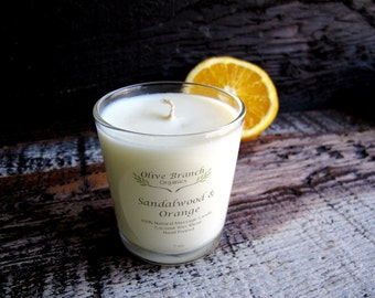 Organic Candle SANDALWOOD & SATSUMA ORANGE Vegan Coconut Wax Candle Essential Oils Eco-friendly All Natural 7 oz.