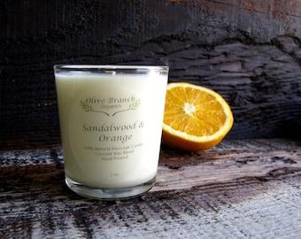 Organic Candle SANDALWOOD & SATSUMA ORANGE Vegan Coconut Wax massage Candle Essential Oils 7 oz.
