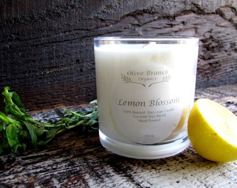 Coconut Wax LEMON BLOSSOM  massage candle Organic Essential Oils All Natural 10 oz.
