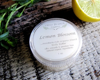 Body Butter travel size LEMON BLOSSOM Organic hand and body salve Essential Oils 1 oz.