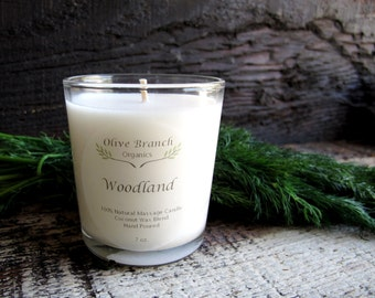 Organic Candle WOODLAND Coconut Wax Essential Oils Natural  7 oz