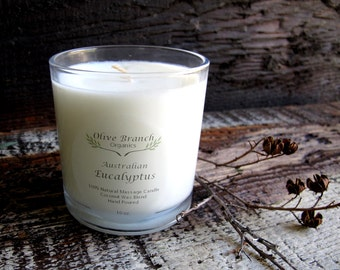Large Organic Candle AUSTRALIAN EUCALYPTUS  Coconut Wax Candle Essential Oils All Natural Aromatherapy 10 oz.