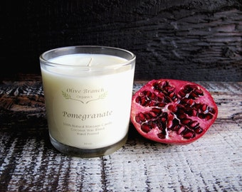 POMEGRANATE Candle Organic Coconut Wax Candle Essential Oils All Natural 10 oz.