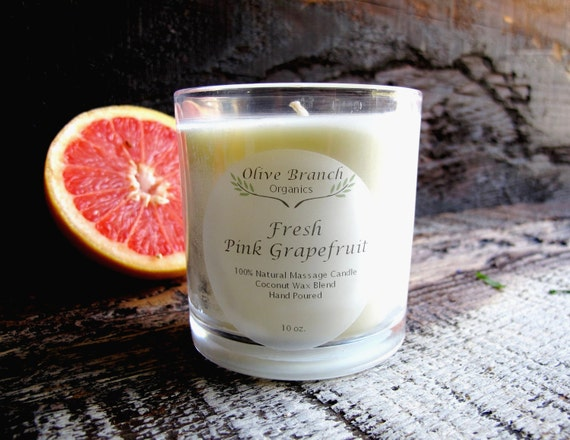 Olive Branch Organics Candle FRESH PINK GRAPEFRUIT Coconut Wax Candle Essential Oils All Natural Aromatherapy 10 oz.
